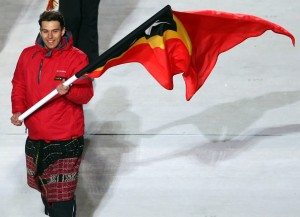 SOCHI, RUSSIA - FEBRUARY 07: Skier Yohan Goncalves Goutt of the Timor-Leste Olympic team carries his country's flag during the Opening Ceremony of the Sochi 2014 Winter Olympics at Fisht Olympic Stadium on February 7, 2014 in Sochi, Russia. (Photo by Bruce Bennett/Getty Images)